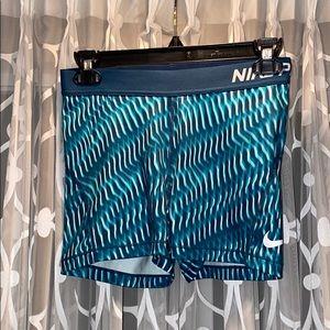 Nike Pro turquoise patterned bike shorts